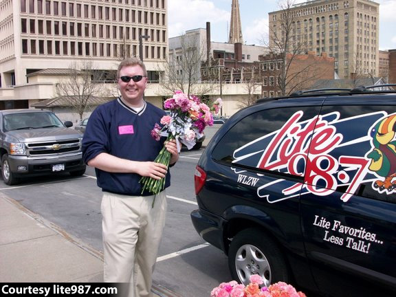 WLZW's Eric Meier with Carnations