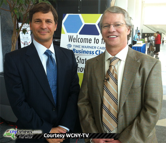 David Faber of CNBC, left, with WCNY-TV Financial Fitness host Jim Burns.  October 25, 2012, at the Oncenter Convention Center in Syracuse, NY.