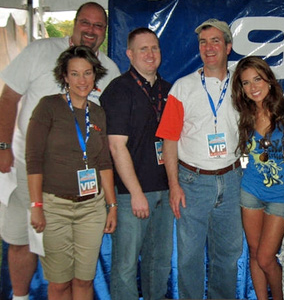 "Ted and Amy on the left, with 93Q colleagues Rick Roberts and Tom Mitchell next to singer Jessie James in this CNYRadio.com Picture of the Week from ""Summer Jam on the Island"" in 2009."