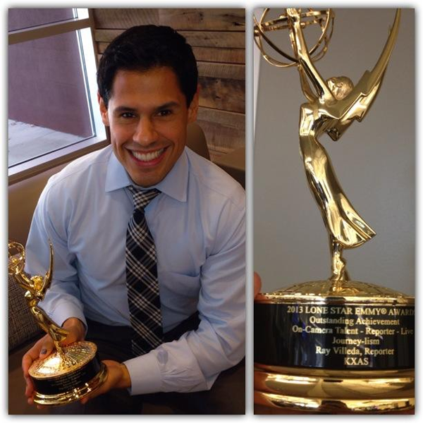 Former Syracuse TV reporter Ray Villeda and the Lone Star Emmy Award he won for live reporting in 2013 while working at KXAS Dallas.