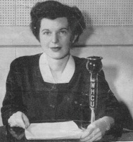 1946: Ruth Whitehead teaches a radio home nursing course from WHCU's Studio B, with a table-mounted 8-Ball mic.